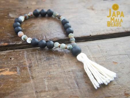 Black Obsidian and African Bloodstone bracelet mala
