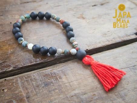 Black Obsidian and African Bloodstone mala