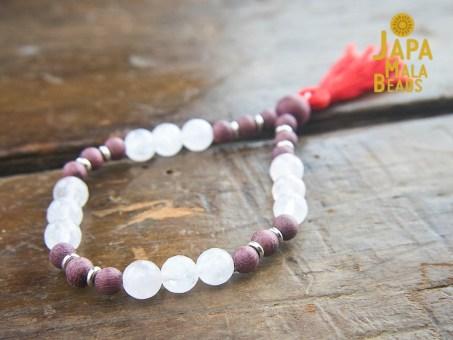 Purple Sandalwood and Rose Quartz Bracelet Mala