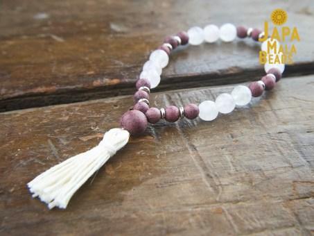 Purple Sandalwood and Rose Quartz Buddhist Mala