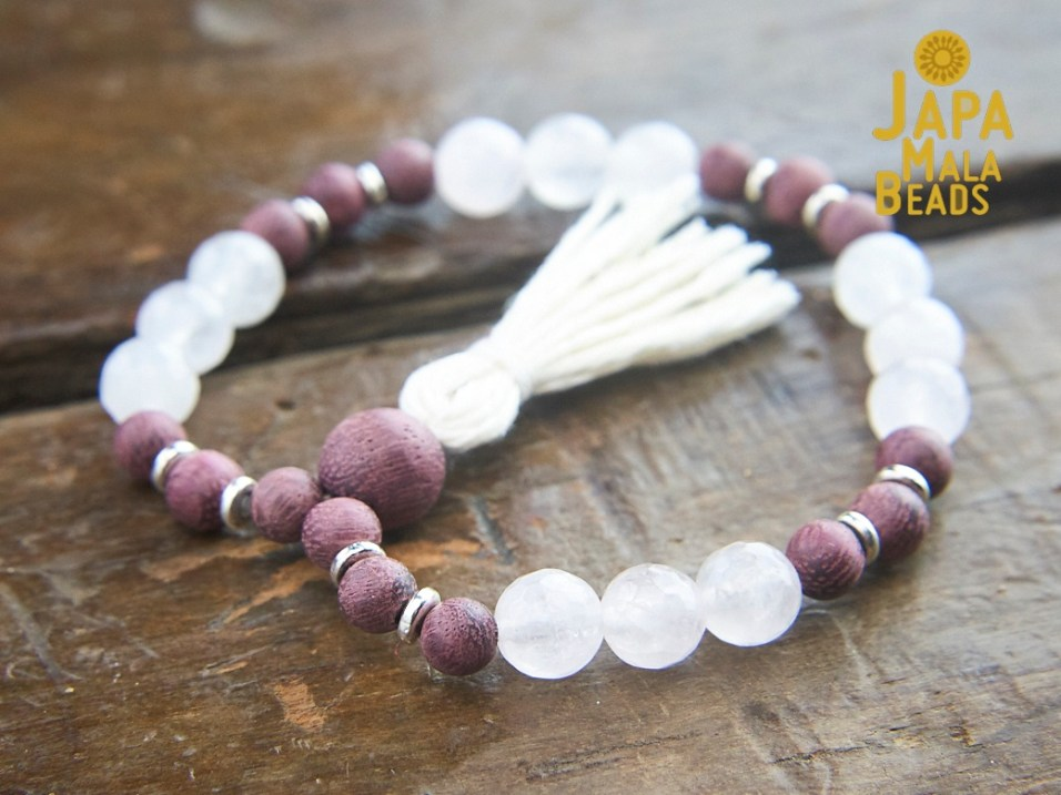 Purple Sandalwood and Rose Quartz Wrist Mala
