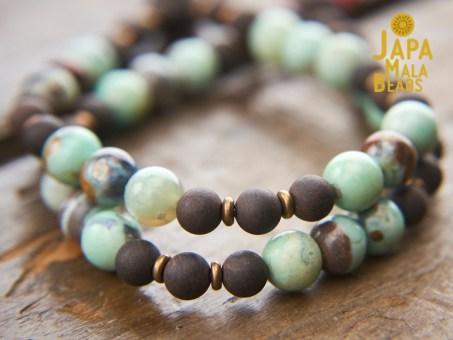 Terra Agate and Agarwood Mala Beads