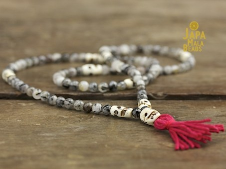 Tourmalated Quartz and Bone Full Mala