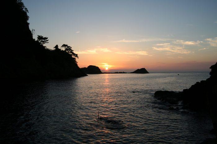 雲見温泉から見る夕日
