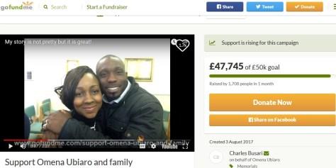 5人の子供を遺し大腸がんで他界した夫婦(画像は『GoFundMe 2017年8月3日付「Support Omena Ubiaro and family」』のスクリーンショット)