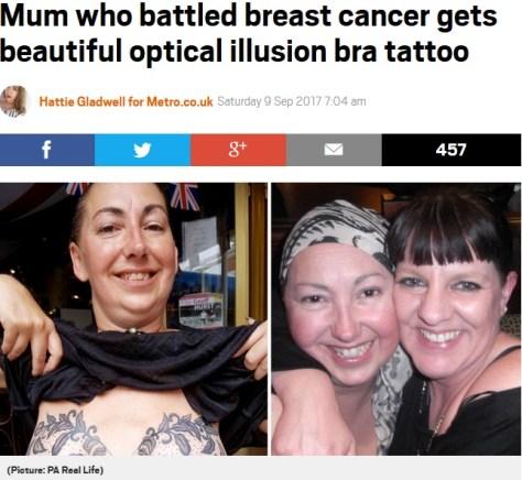 乳房再建術後、胸にタトゥーを(画像は『Metro 2017年9月9日付「Mum who battled breast cancer gets beautiful optical illusion bra tattoo」(Picture: PA Real Life)』のスクリーンショット)