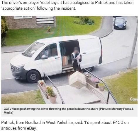 高価な配達物を放り投げるドライバー(画像は『Metro 2018年6月18日付「Delivery driver filmed throwing antiques down staircase before being caught out」(Picture: Mercury Press & Media)』のスクリーンショット)