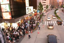 A nearby street corner where people were gathering to cross over to get to the shrine! So many people!
