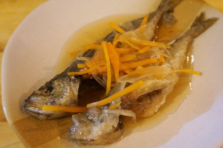 Deep Fried Horse Mackerel Marinated in Sweet Vinegar Sauce and Vegetables あじ南蛮漬 - Standing Bar KAMIYA 立ち呑み かみや