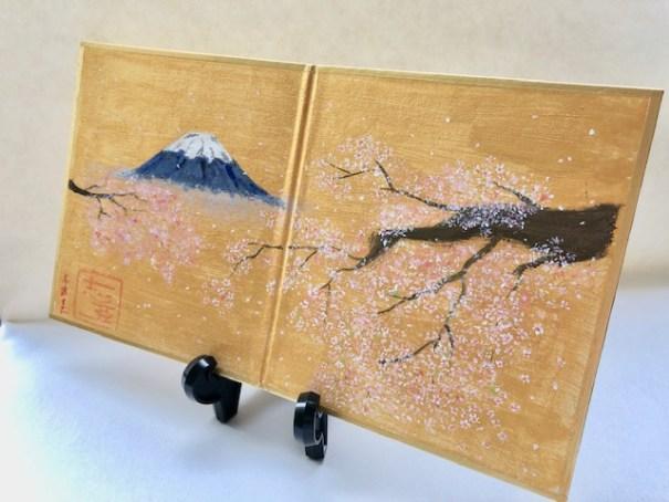 ミニ屏風 富士山と桜