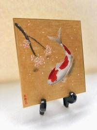 ミニ日本画 錦鯉と桜