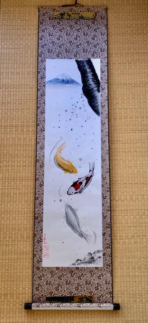 掛け軸 金と銀の鯉と桜と富士
