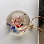 クリスタルガラス3D錦鯉と桜とパワーストーンネックレス