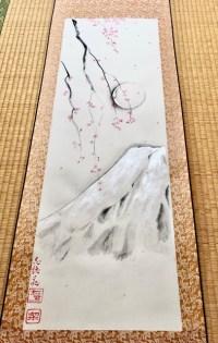掛け軸 日本画 水墨画 銀の富士山としだれ桜 満月
