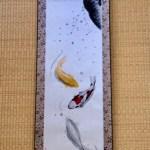 掛け軸 日本画 水墨画 錦鯉と金銀の鯉と桜