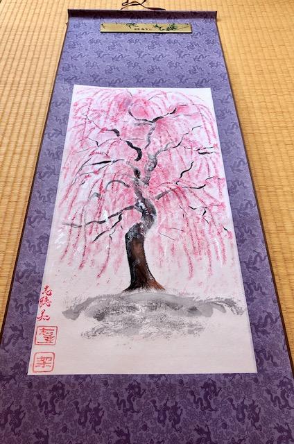 掛け軸日本画 禅 桜