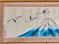 富士山と鶴掛け軸