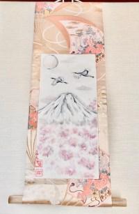 袋帯シルク日本画掛け軸富士山と鶴と桜