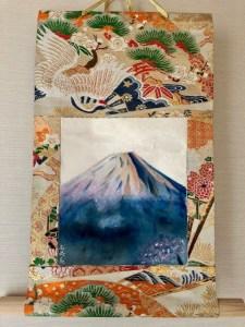 袋帯シルク日本画富士山掛け軸