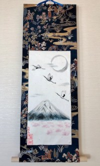 袋帯絹の掛け軸 日本画富士山と鶴と桜