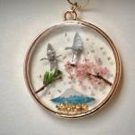 和風ネックレス 鶴と桜と富士と松