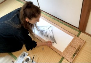 富士山を水墨画で描く