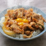Stamina Don using Pork Slices and Garlic topped with Raw Eggs