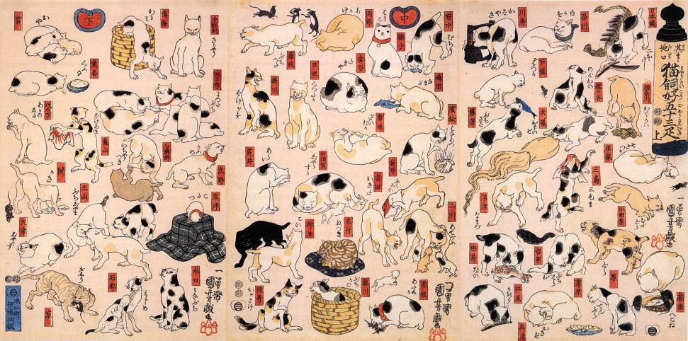 Cats Suggested as the Fifty-three Stations of the Tokaido