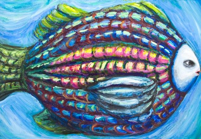 Armored Fighting Fish Piranha Wearing Lipstick