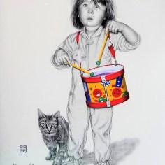 Little Drummer Jaden, Charcoal Waterclour, 30.5 x 22.5