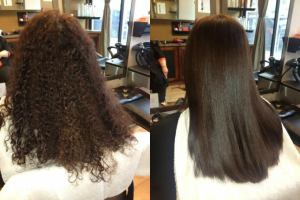 Japanese hair straightening before after