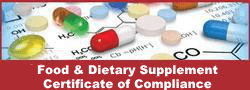 Certificate of Compliance for Food and Supplement