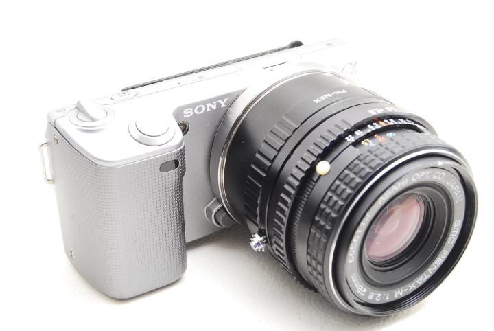 Sony-α NEX5でSMC Pentax-M 28mm F2.8 レンズを装填