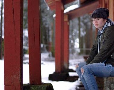 Joe sitting outside a shrine in Nikko