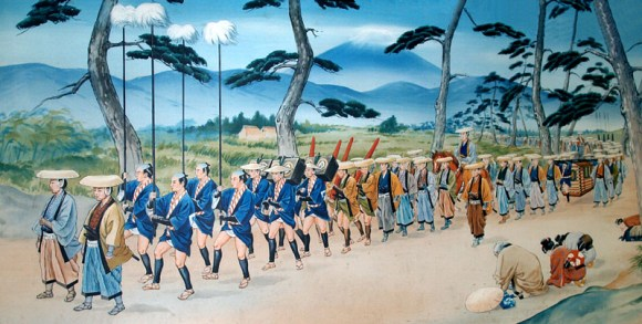 A modern rendering of a daimyo procession. Note the commoners bowing as the parade passes by.