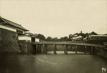 Side view of the original otebashi bridge (now the stone bridge). My guess is the photographer was standing on the kejobashi... maybe...