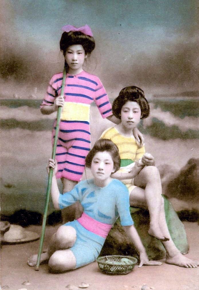 The Meiji Era (1868-1912) was a time of profound change in Tokyo. These are geisha dressed in Japanized western swimsuits.  Wait. Do I see camel toe?