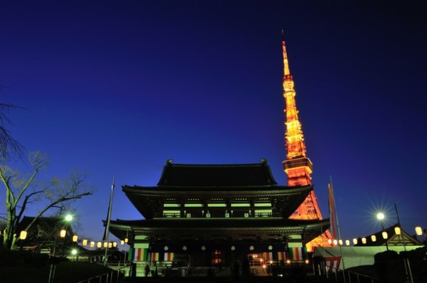 Zojoji's main temple as it looks today.  At dusk. Bad ass.