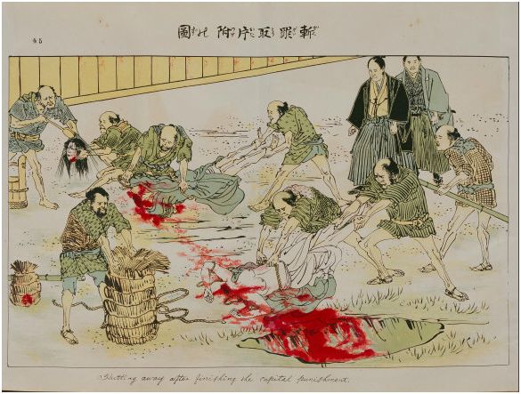 Again from Denma-cho. Disposing of the bodies and cleaning the heads. Cleaned heads would be displayed for about 3 days so that anyone passing through would realize the shogun's power over life and death.