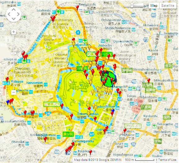 Edo Castle at its height is highlighted. The tiny green circle is where the Edo residence is thought to have soon. By the this awesome interative map is from JCastle.info. Click the map to go directly the page I took this from.
