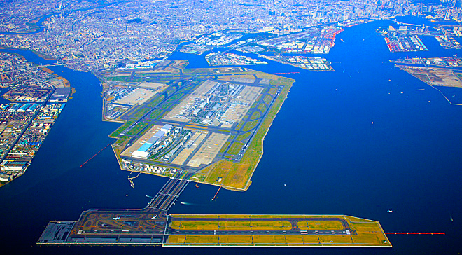 Aerial shot of Haneda Airport. The bulk of the current airport is built on landfill that didn't exist during the Edo Period so there's no way to confirm this theory now.  I'm too lazy to pull out an old map because this theory sounds like BS. But from the air, you can see how various inlets split off into new rivers. I guess that could look like a bird's wings. Just not sure how you'd see it from a boat.
