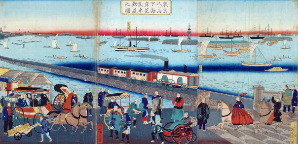 Early Meiji ukiyo-e of Shinagawa Station. I think this picture isn't accurate, but it shows a man-made wave breaker that you can see on the Edo Period map.