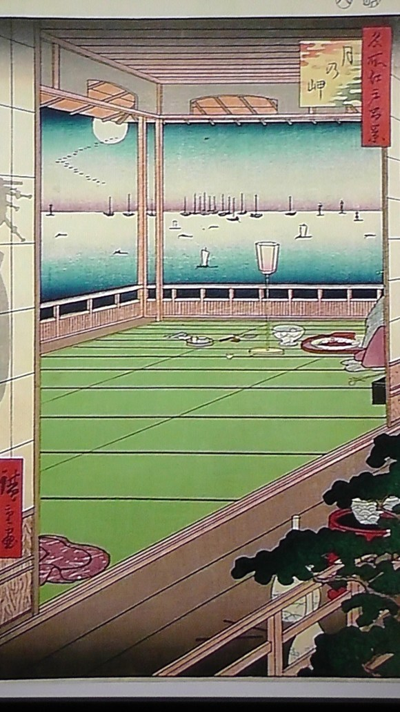 There are many places called Tsuki no Misaki around the coastlines of Japan. If I'm not mistaken, this is one from the outskirts of Edo in Shinagawa.  But this is what a party room would look like on Edo Bay.