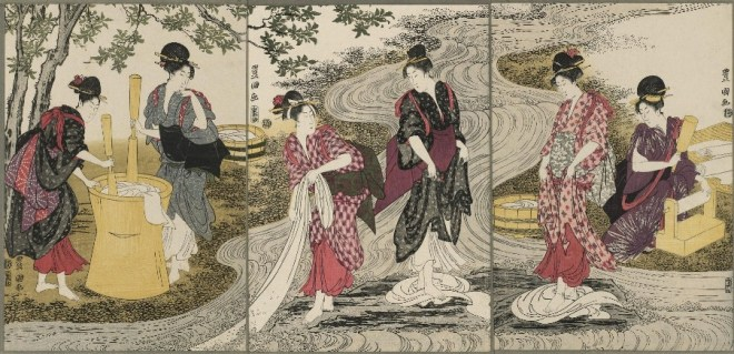 A new image arises: beautiful young women bleaching cloth in the Tama River.