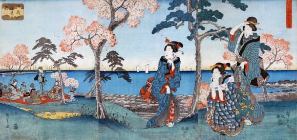The shogun's harem enjoying hanami on gotenyama in Shinagawa.