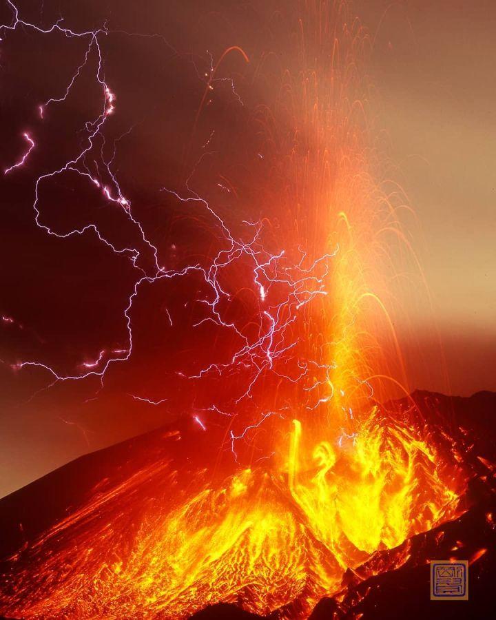 Volcano with lightning