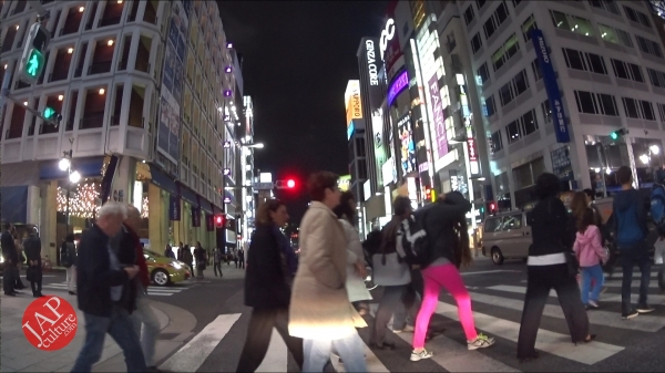 Ginza Chuo dori, Central street [Riding view] at night. elegant neon sing town_0004
