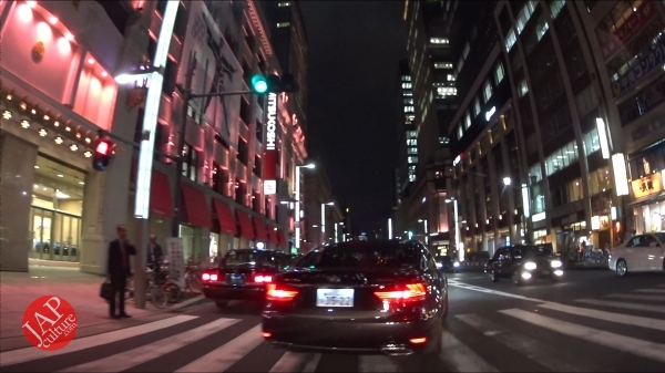 Ginza Chuo dori, Central street [Riding view] at night. elegant neon sing town_0008