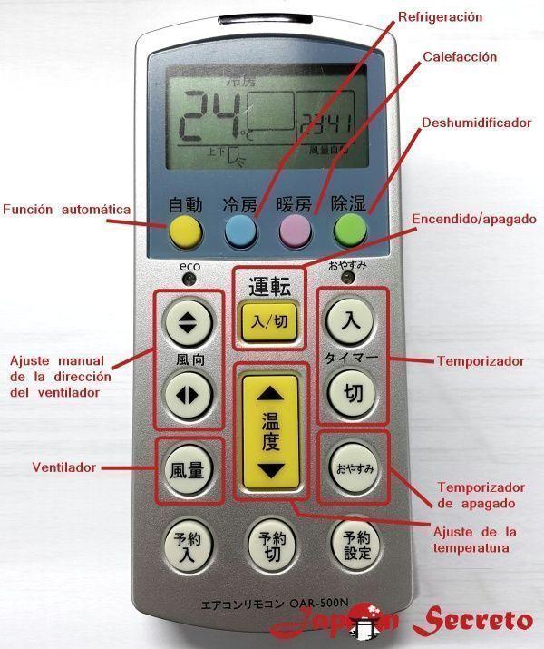 Funciones básicas de un mando de aire acondicionado en Japón