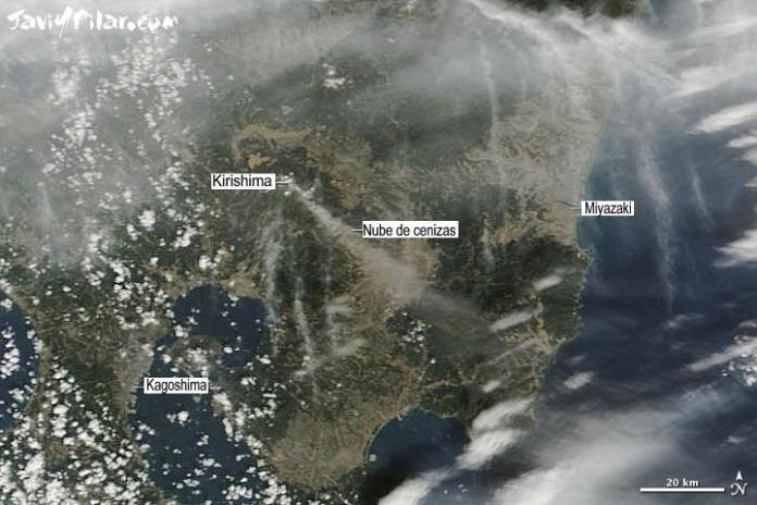 Imagen de satélite. Nube de cenizas tras la erupción del volcán Shin Moe (monte Kirishima, Japón). 28 de enero de 2011